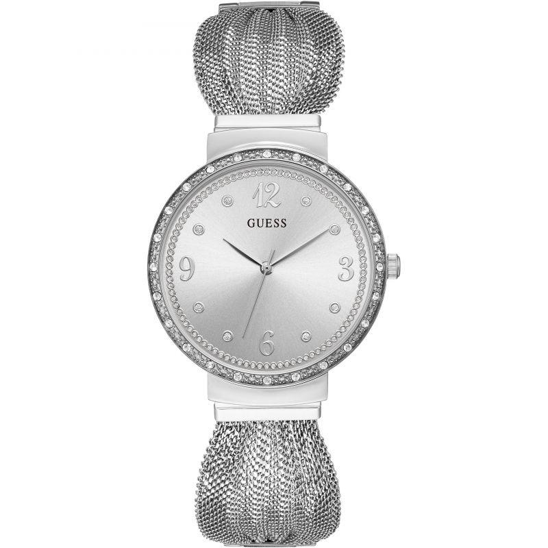 GUESS Ladies silver watch with crystals and mesh bracelet
