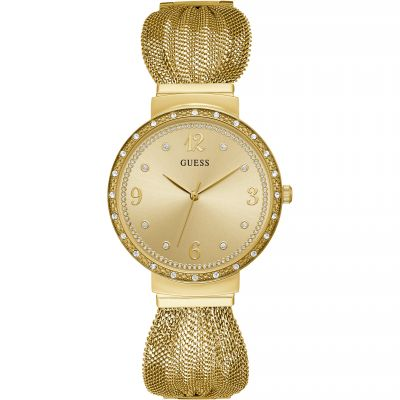 GUESS Ladies gold watch with crystals and mesh bracelet