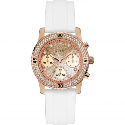 GUESS Ladies rose gold watch with two-tone glitter dial