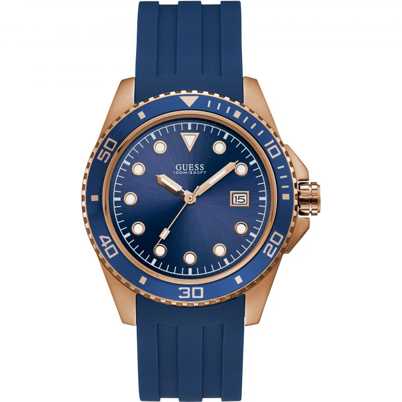 GUESS Gents rose gold watch with blue trim, dial and strap