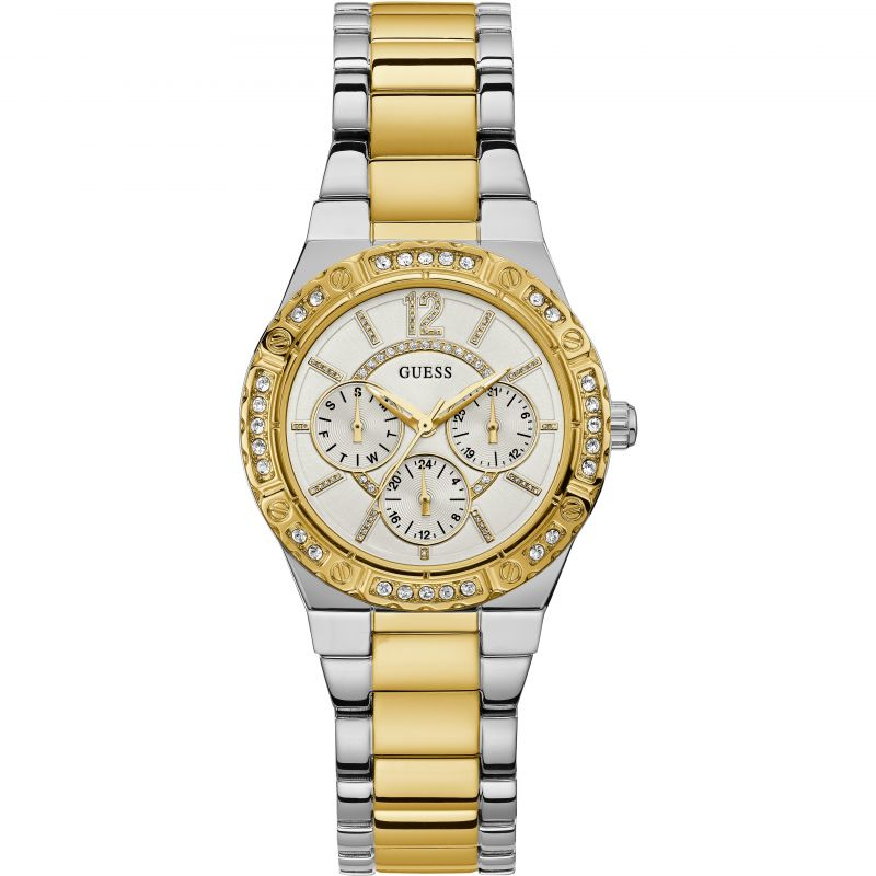 GUESS Ladies silver and gold watch with multifunction dial