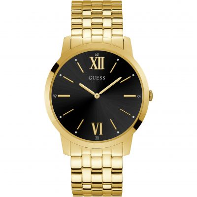 GUESS Gents gold watch with sunray black dial