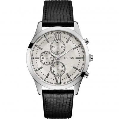 GUESS Gents silver watch with chrono dial & leather strap