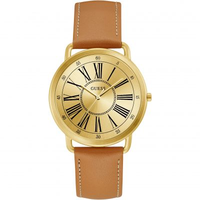 GUESS Ladies gold watch with  smooth tan leather strap