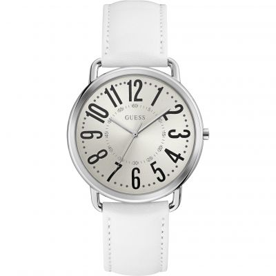GUESS Ladies silver watch with white dial & leather strap