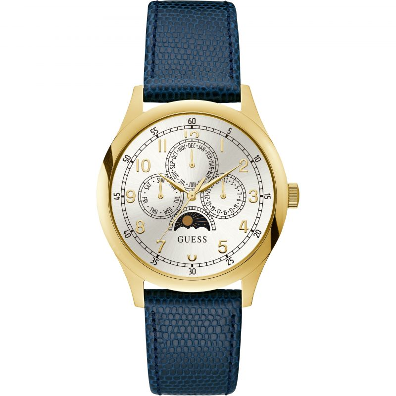 GUESS Gents gold watch with moon dial & blue  leather strap
