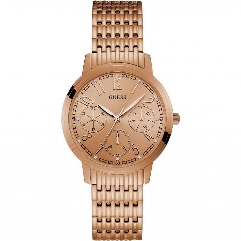 GUESS Ladies rose gold watch with multifunctional dial