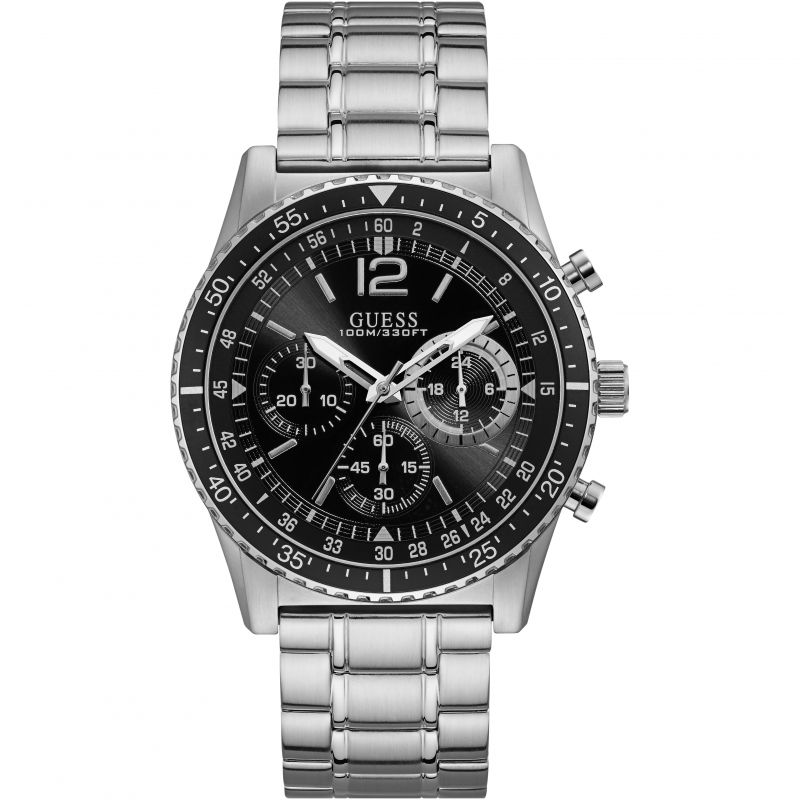 GUESS Gents silver chronograph watch with black dial & trim
