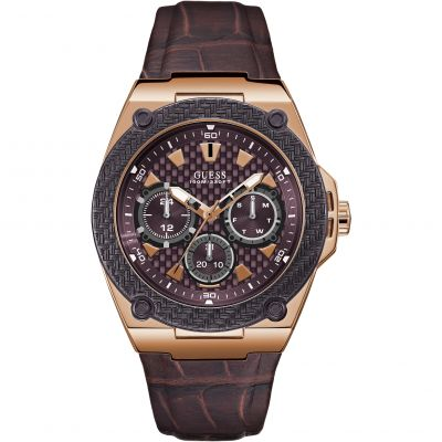GUESS Gents rose gold watch with bronze trim & leather strap