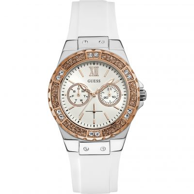GUESS Ladies silver & rose gold watch with crystals