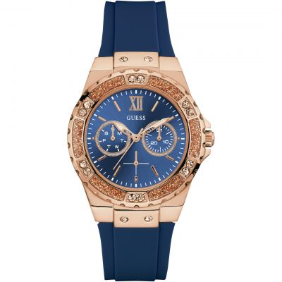 GUESS Ladies rose gold watch with blue dial & silicone strap