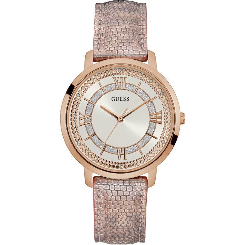 GUESS Ladies rose gold watch with textured leather strap