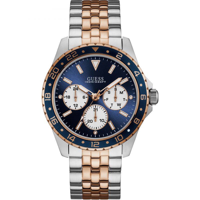 GUESS Gents silver and rose gold watch with blue trim & dial