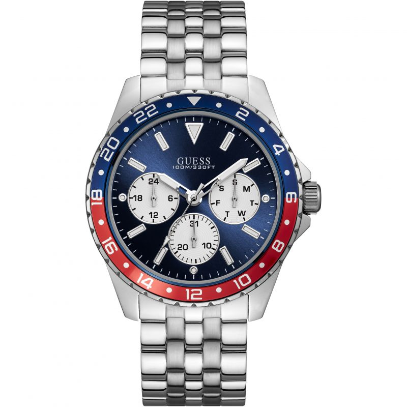 GUESS Gents silver watch with blue and red trim