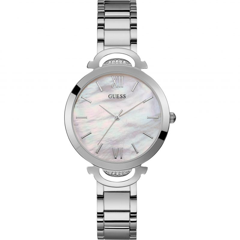 GUESS Ladies silver watch with white mother of pearl dial