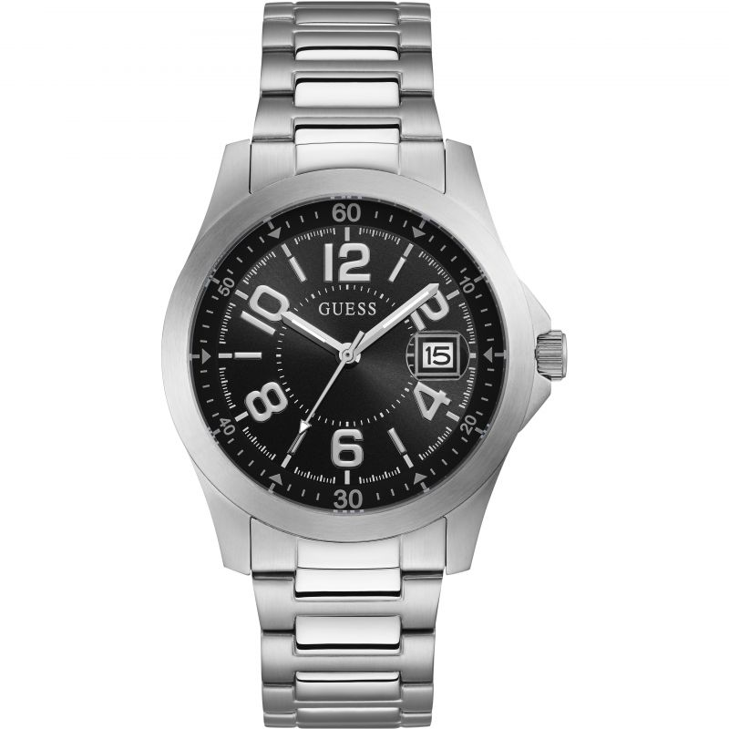 GUESS Gents silver watch with black date dial