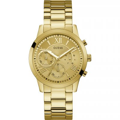 GUESS Ladies gold watch with champagne chrono look dial