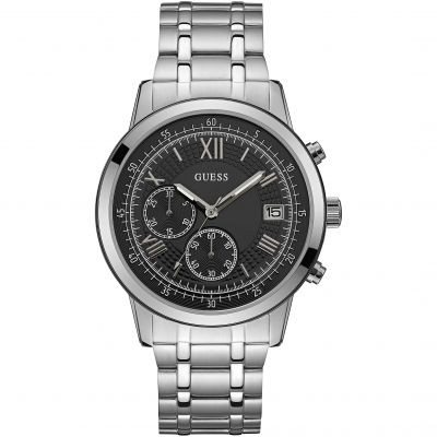 GUESS Gents silver watch with black chronograph dial