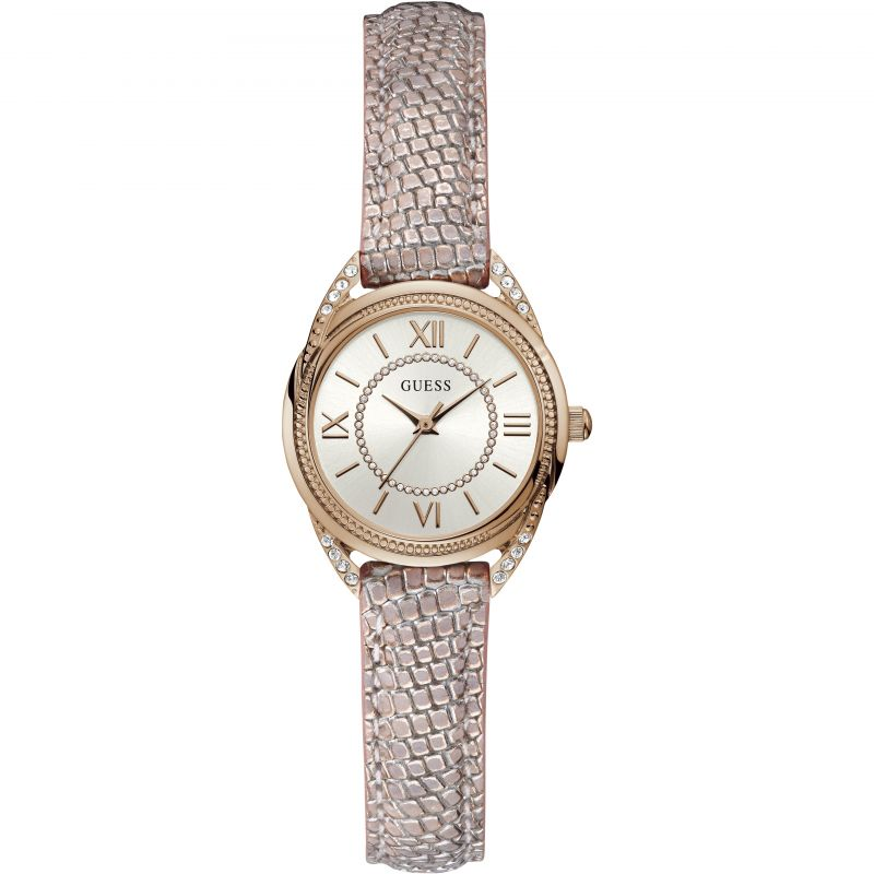GUESS Ladies rose gold watch with rose leather strap