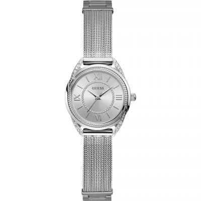 GUESS Ladies silver watch with crystals & adjustable G-Link