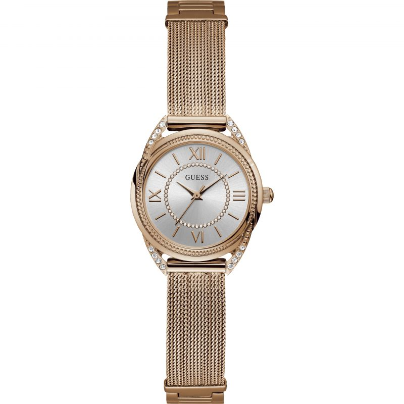 GUESS Ladies rose gold watch with crystal & adjustable GLink