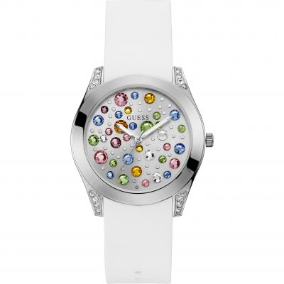 GUESS Ladies silver watch with multi-colour crystal dial