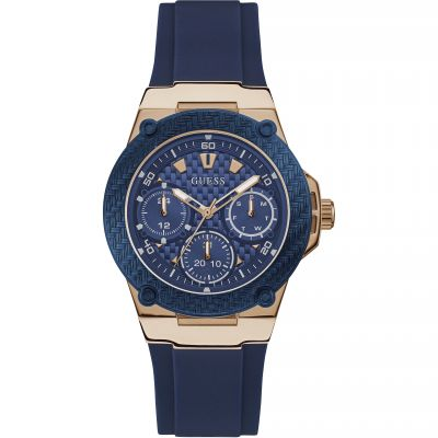 GUESS Ladies rose gold watch with blue trim & silicone strap
