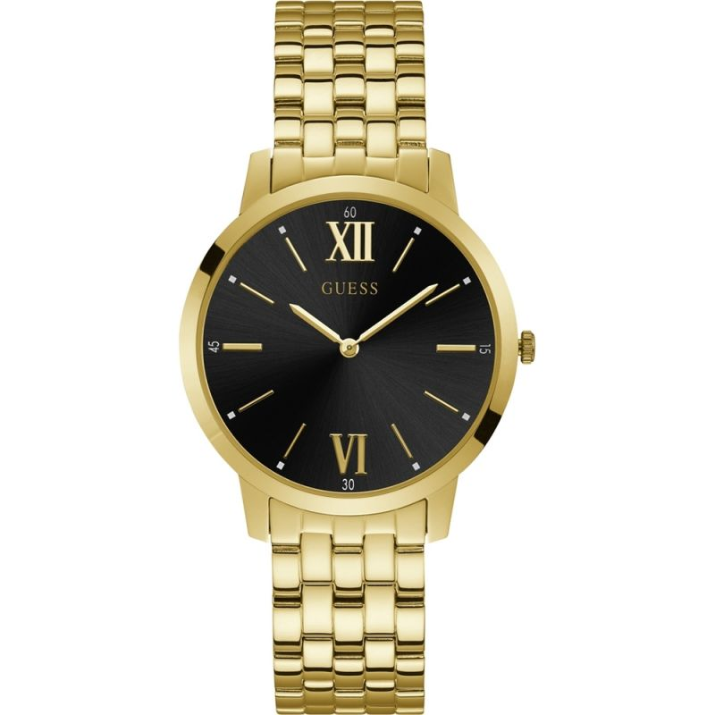 GUESS Gents gold watch with black dial.