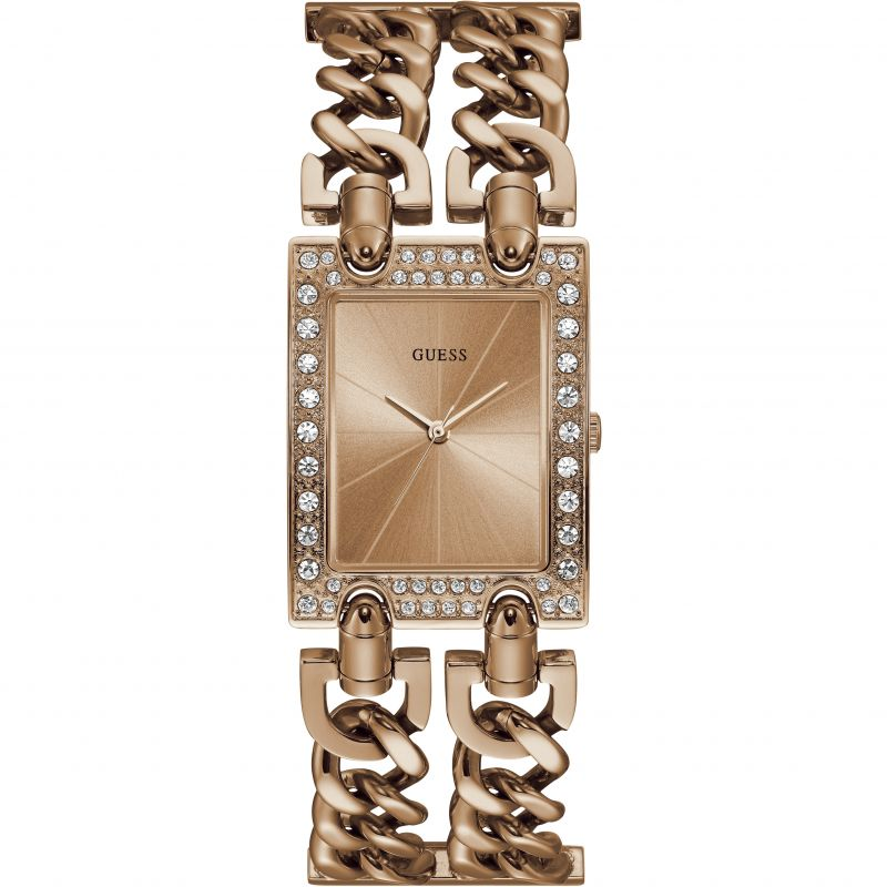 GUESS ladies rose gold watch with rose gold dial.