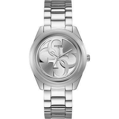 GUESS ladies silver watch with white dial.
