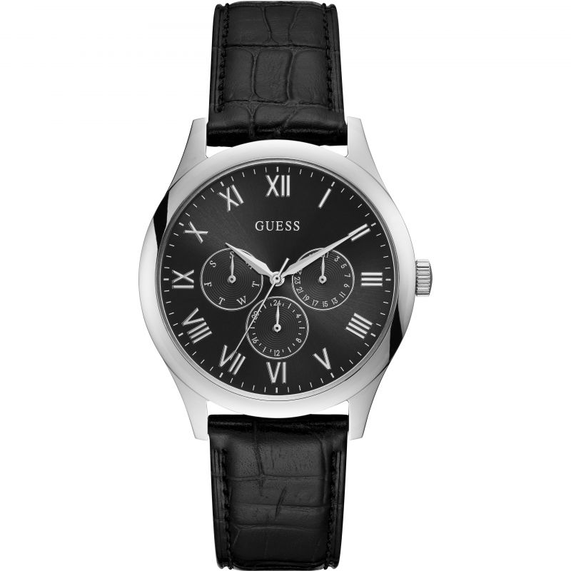 GUESS Gents silver watch with black dial.