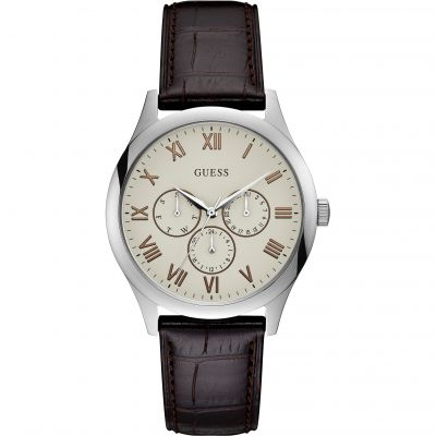 GUESS Gents silver watch with white dial.