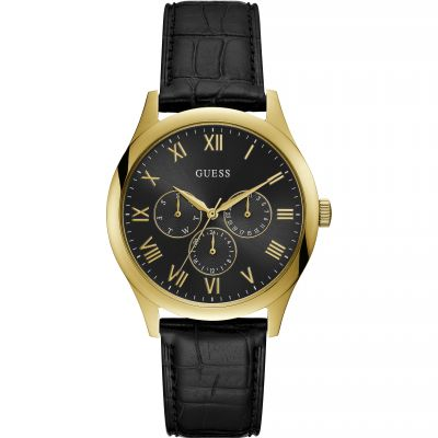 GUESS Gents gold watch with black dial