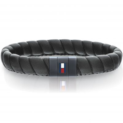 Tommy Hilfiger Heren Leather Braided Bracelet Zwart Ion verguld staal 2701056