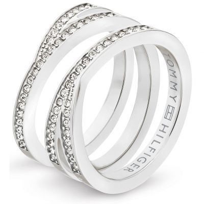 Tommy Hilfiger Dam Cross Over Ring Size P Silverpläterad 2701098D