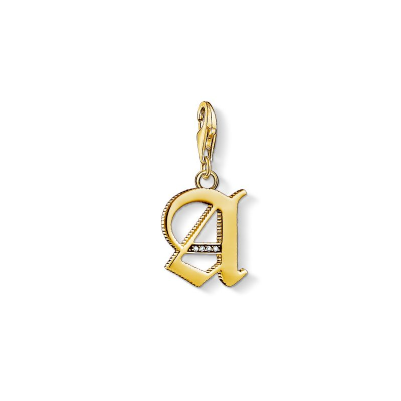 Image of  			   			  			   			  Ladies Thomas Sabo Gold Plated Sterling Silver Charm Club Letter A Charm