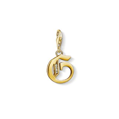Ladies Thomas Sabo Gold Plated Sterling Silver Charm Club Letter G Charm 1613-414-39