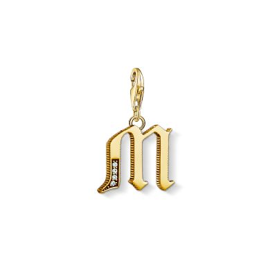 Ladies Thomas Sabo Gold Plated Sterling Silver Charm Club Letter M Charm 1619-414-39