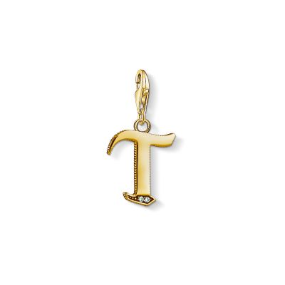 Ladies Thomas Sabo Gold Plated Sterling Silver Charm Club Letter T Charm 1626-414-39