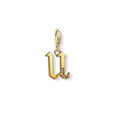 Ladies Thomas Sabo Gold Plated Sterling Silver Charm Club Letter U Charm 1627-414-39