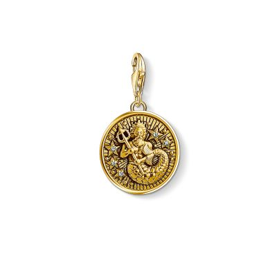 Damen Thomas Sabo Charm Club Zirkonia Zodiac Sign Aquarius Charm vergoldetes Sterlingsilber 1650-414-39