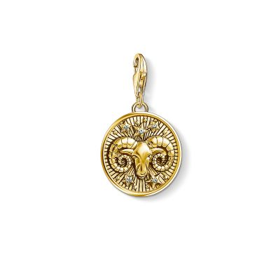 Damen Thomas Sabo Charm Club Zirkonia Zodiac Sign Aries Charm vergoldetes Sterlingsilber 1652-414-39