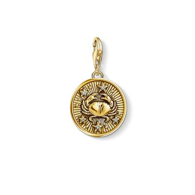 Damen Thomas Sabo Charm Club Zirkonia Zodiac Sign Cancer Charm vergoldetes Sterlingsilber 1655-414-39