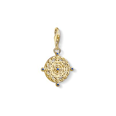 Ladies Thomas Sabo Gold Plated Sterling Silver Charm Club Vintage Compass Charm 1662-922-39