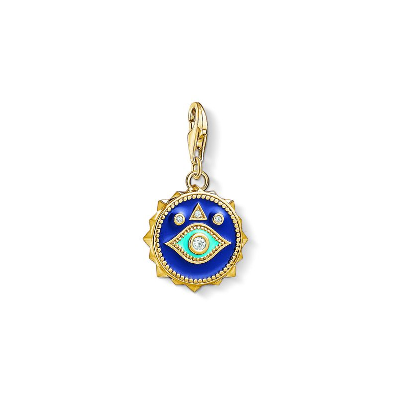 Image of  			   			  			   			  Ladies Thomas Sabo Gold Plated Sterling Silver Charm Club Blue Nazar Eye Charm