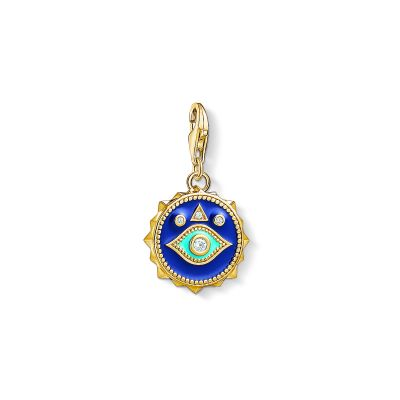 Damen Thomas Sabo Charm Club Zirkonia Blue Nazar Eye Charm vergoldetes Sterlingsilber 1663-565-32