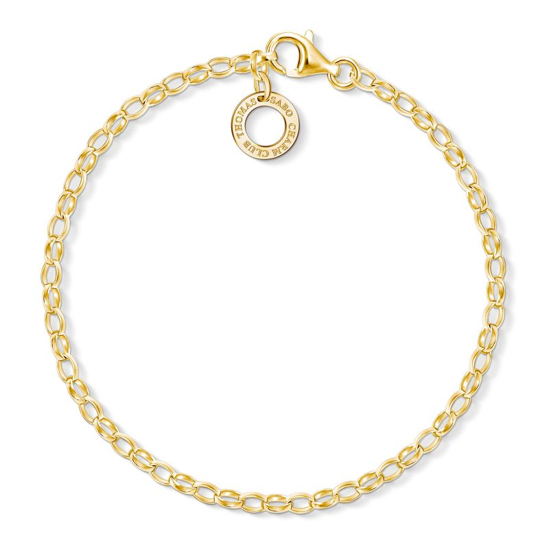 Image of  			   			  			   			  Ladies Thomas Sabo Gold Plated Sterling Silver Charm Club Charm Bracelet