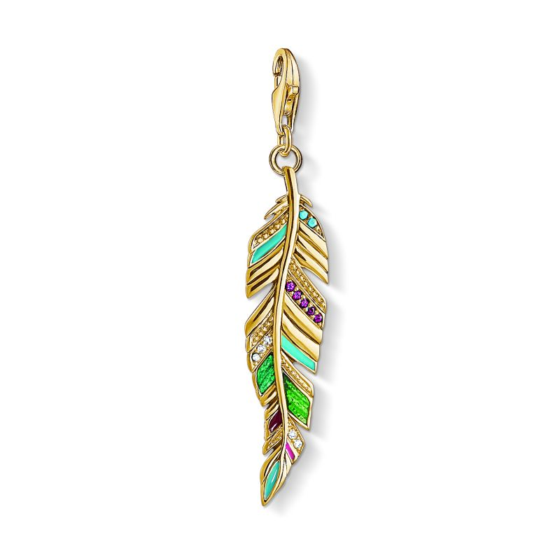 Image of  			   			  			   			  Ladies Thomas Sabo Gold Plated Sterling Silver Charm Club Ethnic Feather Charm