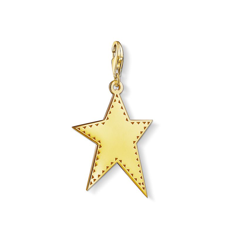 Image of  			   			  			   			  Ladies Thomas Sabo Gold Plated Sterling Silver Charm Club Golden Star Charm