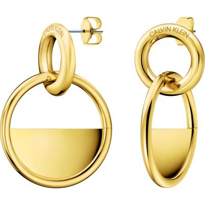 Ladies Calvin Klein Gold Plated Locked Earrings KJ8GJE100100